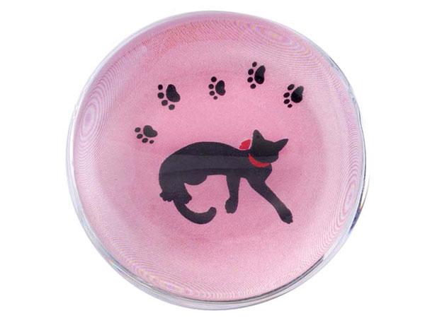 ガラス箸置き(リボン猫・桃)