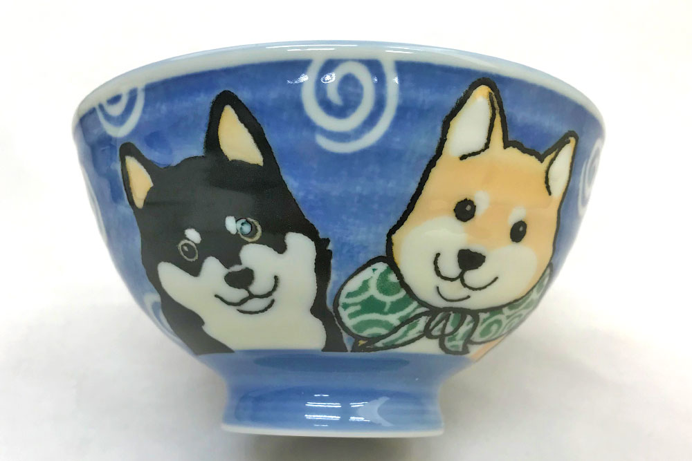 犬好き 飯椀 飯器/ 柴犬茶碗 青 中平 /女性用 子供用