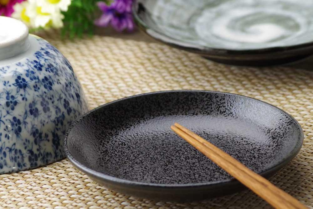 和食器 小皿 タレ皿 取り分け用皿 業務用大量購入歓迎 結晶吹4.0皿(黒)