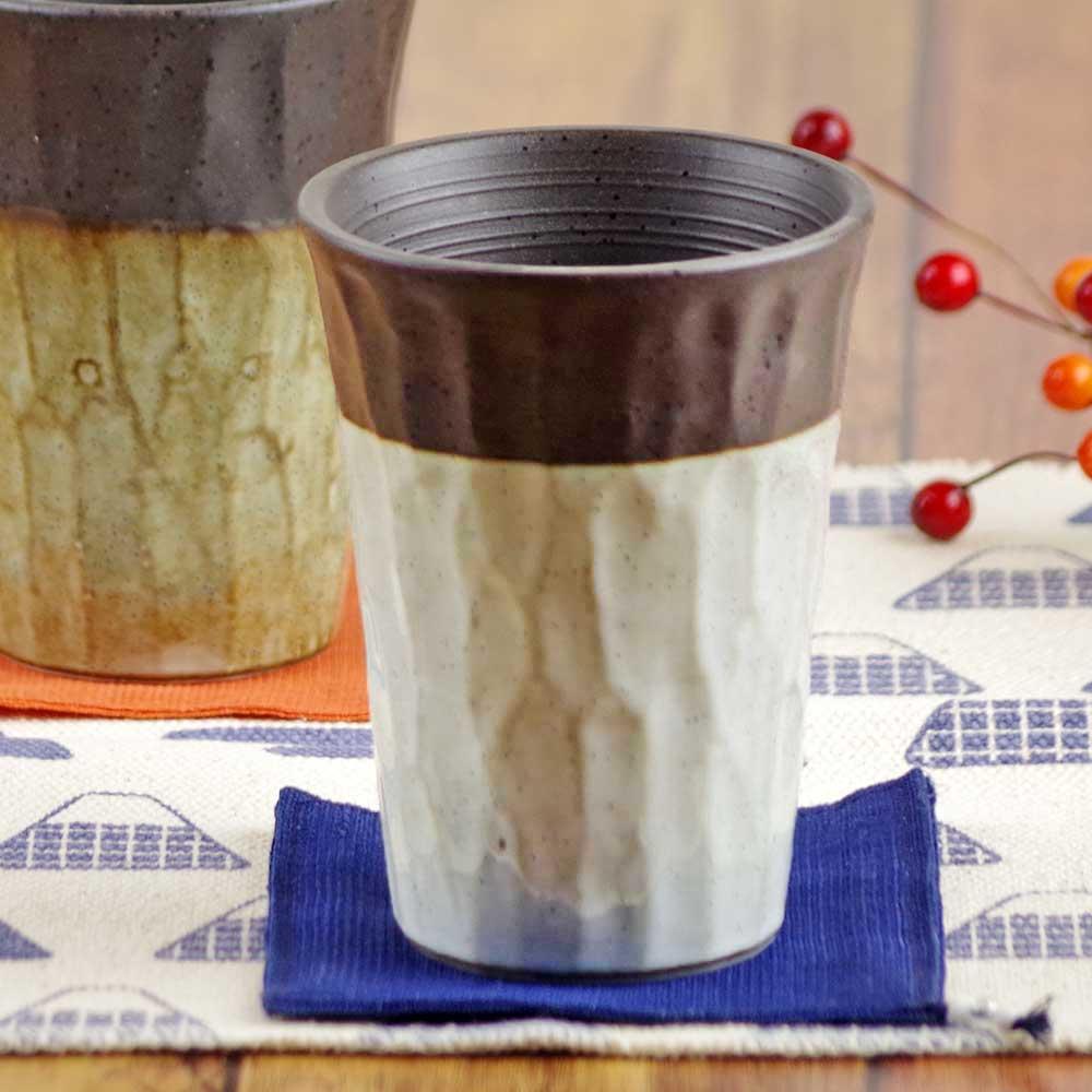 陶器 焼酎グラス 焼酎カップ ビアグラス フリーカップ ビアカップ/ 塗り分けロックタンブラー (灰) /湯呑み おしゃれ 食器 家飲み 晩酌