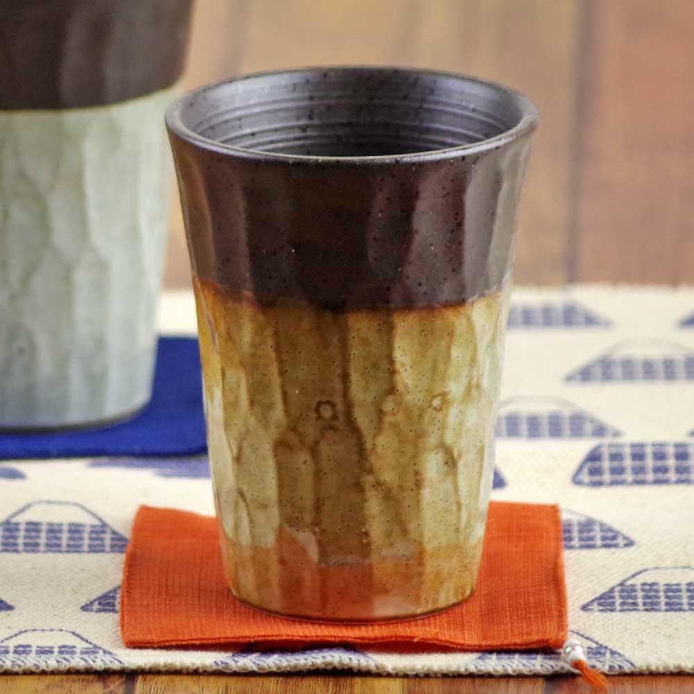 陶器 焼酎グラス 焼酎カップ ビアグラス フリーカップ ビアカップ/ 塗り分けロックフリーカップ (茶) /湯呑み おしゃれ 食器 家飲み 晩酌
