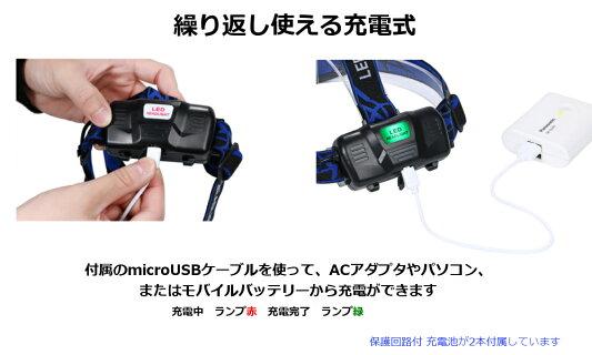【2018年最新版】ヘッドライト充電式ヘッドライトセンサー点灯電池付属ヘッドランプLED釣り登山アウトドア作業灯