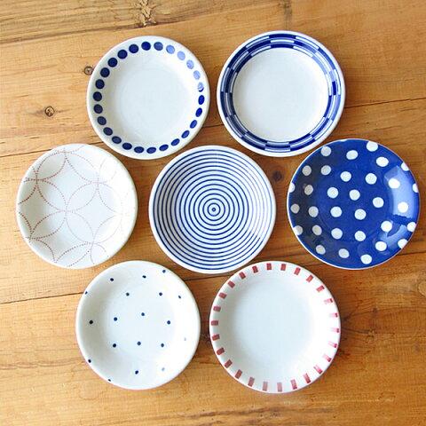 7柄から選べます 和食器 小皿 12cm 【 豆皿 取り皿 白 ブルー KOUSUI 日本製 美濃焼 アウトレット込み プレート 丸 】