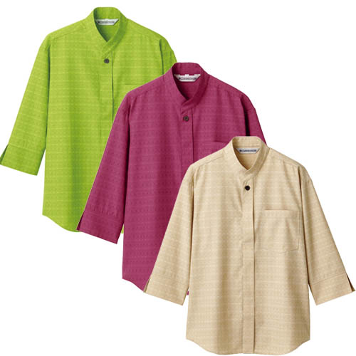 アジアンテイストのシャツ 七分袖男女兼用 居酒屋 和食 アジアン業務用