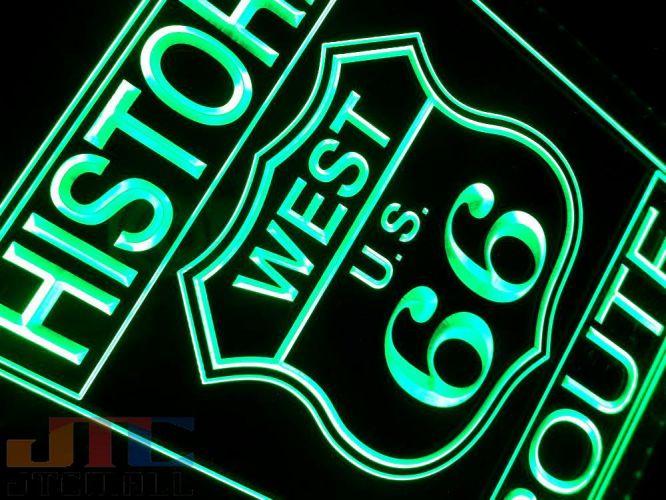店舗用 ネオン看板 ROUTE66 アメリカン雑貨 ネオンサイン 看板 LED 3D NEON SIGN 緑 ネオン管 ルート66 広告 アメリカン