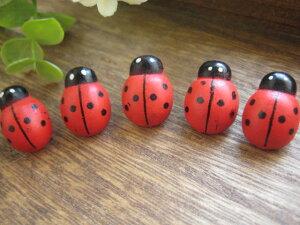 赤いてんとう虫のウッドボタン5個セット【通園通学】【入園入学】
