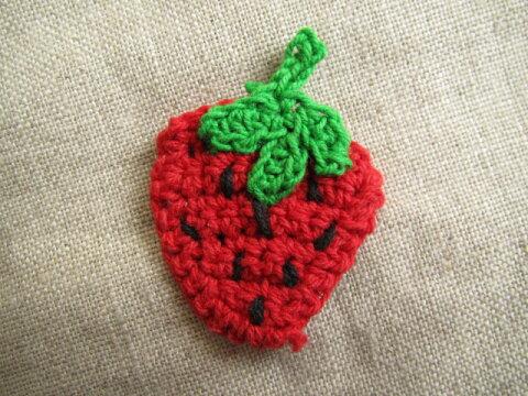 苺の手編みのモチーフ1個売り