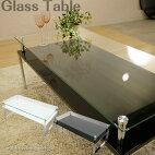 【送料無料】ガラステーブル2色対応スタイリッシュガラステーブルガラステーブルテーブルローテーブルセンターテーブル金属脚強化ガラス飛散防止シートクロームメッキブラックホワイト【smtb-MS】