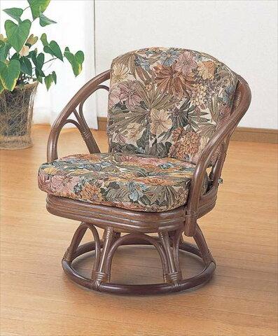 ラウンドチェア ハイタイプ TK-702 ブラウン 籐 籐家具 座椅子 椅子 イス 回転式 アジアンリビングルーム籐ラタン製 輸入品 完成品