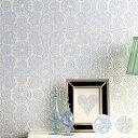 【 壁紙 のりなし 】 壁紙 のりなし クロス パターン テキスタイルデザイン 水色 防かび ルノン RH-4782〜RH-4783
