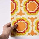 貼ってはがせる シール壁紙 リメイクシート 「Hatte me(ハッテミー)」復刻ヴィンテージ柄 オレンジxイエロー FKVT-B0 (65cm×1m) 壁紙屋本舗 3