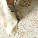 貼ってはがせる床のリメイクシート「Hatte me Floor(ハッテミーフロア)」フロア アンティークタイル柄 アプリコット FL-ATOG-01(65cm×1m) 1