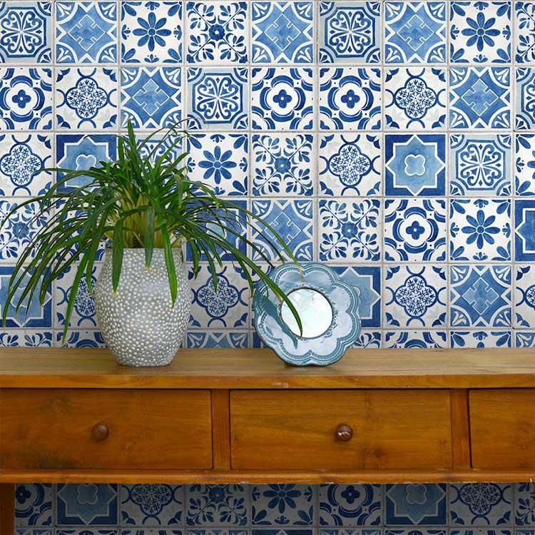 RoomClip商品情報 - 貼ってはがせる シール壁紙 リメイクシート 「Hatte me(ハッテミー)」ランダムタイル柄 ブルー TILE-01 (65cm×1m)