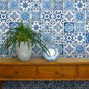 貼ってはがせる シール壁紙 リメイクシート 「Hatte me(ハッテミー)」ランダムタイル柄 ブルー TILE-01 (65cm×1m) 壁紙屋本舗 1