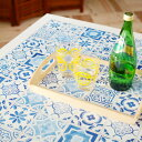 貼ってはがせる シール壁紙 リメイクシート 「Hatte me(ハッテミー)」ランダムタイル柄 ブルー TILE-01 (65cm×1m) 壁紙屋本舗 2