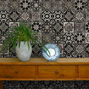 貼ってはがせる シール壁紙 リメイクシート 「Hatte me(ハッテミー)」ランダムタイル柄 ブラック TILE-04 (65cm×1m) 壁紙屋本舗