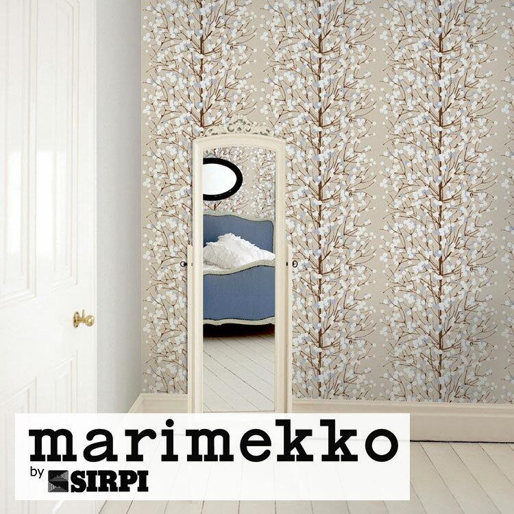 輸入壁紙 marimekko(マリメッコ) Wallcoverings 5 / Lumimarja BlueWhite 23375(1ロール(70cm×10m)単位で販売)フリース(不織布)【国内在庫】