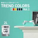 壁紙の上に塗れる水性ペンキ2Lペイントラボトレンドカラーズvol.1水性塗料(約12〜14平米使用可能)※メーカー直送商品