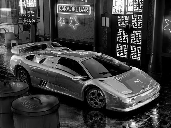 乗り物 のりもの 男の子 ボーイズの壁紙 輸入 カスタム壁紙 PHOTOWALL / Lamborghini In Asia - b/w (e12089) 貼ってはがせるフリース壁紙(不織布) 【海外取り寄せのため1カ月程度でお届け】 【代引き不可】
