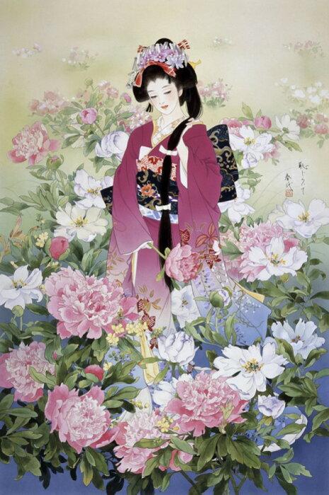 しゃくやく 芍薬 美人画 日本画 着物の壁紙 輸入 カスタム壁紙 PHOTOWALL / Syakuyaku (e21714) 貼ってはがせるフリース壁紙(不織布) 【海外取り寄せのため1カ月程度でお届け】 【代引き不可】