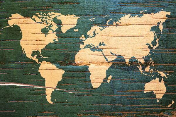 壁紙・装飾フィルム, 壁紙  PHOTOWALL World Map on Wooden Wall (e30324) () 1