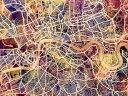 都市 都会 摩天楼 地図の壁紙 輸入 カスタム壁紙 PHOTOWALL / London Street Map Purple (e50094) 貼ってはがせるフリース壁紙(不織布) 【海外取り寄せのため1カ月程度でお届け】 【代引き不可】 1