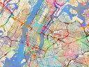 ニューヨーク 地図 水彩 カラフルの壁紙 輸入 カスタム壁紙 PHOTOWALL / New York City Street Map (e311421) 貼ってはがせるフリース壁紙(不織布) 【海外取り寄せのため1カ月程度でお届け】 【代引き不可】