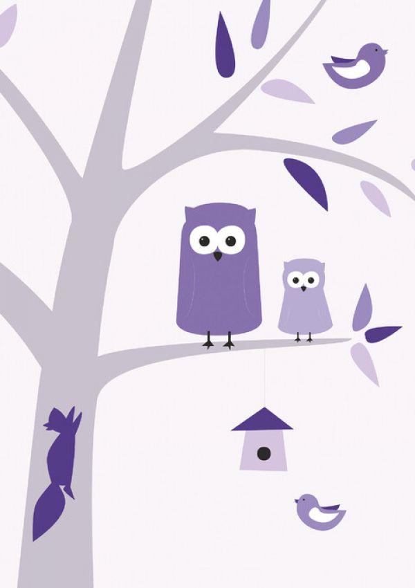 壁紙・装飾フィルム, 壁紙  PHOTOWALL Owls - Purple (e325968) () 1