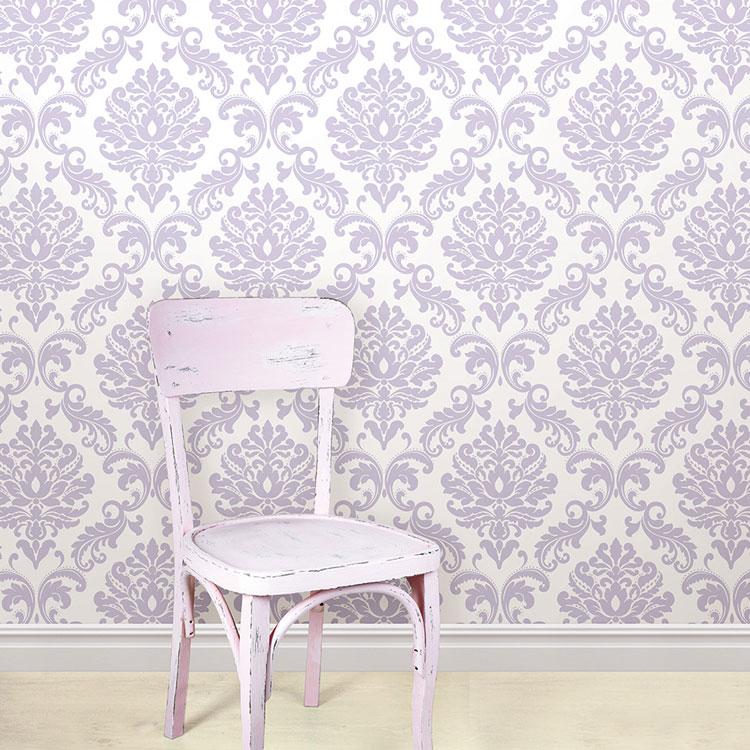 はがせる 壁紙 シール NuWallpaper 貼ってはがせる シール 壁紙 リメイクシート 壁・家具・お風呂などにも貼れる! NU1396 薄紫ダマスク柄 壁紙屋本舗