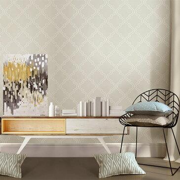 はがせる 壁紙 シール NuWallpaper貼ってはがせる シール 壁紙 リメイクシート壁・家具・お風呂などにも貼れる!NU1425クリーム色のクラシック柄