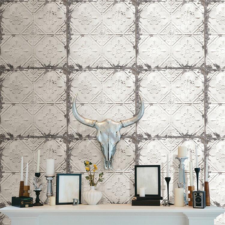 はがせる 壁紙 シール NuWallpaper 貼ってはがせる シール 壁紙 リメイクシート 壁・家具・お風呂などにも貼れる! NU2213 アンティークティンタイル柄 壁紙屋本舗