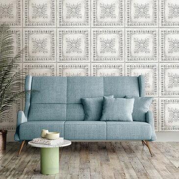 はがせる 壁紙 シール NuWallpaper貼ってはがせる シール 壁紙 リメイクシート壁・家具・お風呂などにも貼れる!NU2495アンティーク ティンタイル柄