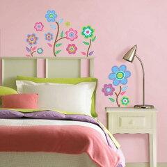 ポップな色づかいのかわいいお花のステッカー壁に貼ってはがせるステッカー [ウォールステッカ...