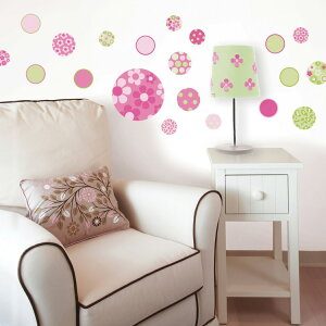 ドットや花柄がかわいい丸いステッカー壁に貼ってはがせるステッカー [ウォールステッカー「WAL...