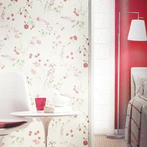 人気のあるイチゴとフラワー柄の壁紙。のりも水も不要 すぐに張れる壁紙 のり付 クロス {{生の...