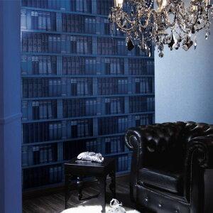 洋書が並ぶ書庫・本棚を演出アクセントにおすすめのりも水も不要 すぐに張れる壁紙 のり付 クロ...