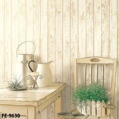 ナチュラルなお部屋づくりに!壁紙 のり付 クロス 木目柄 白 [生のり付き壁紙/サンゲツFE-9630(...
