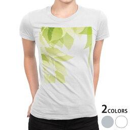 tシャツ レディース 半袖 白地 デザイン S M L XL Tシャツ ティーシャツ T shirt 000125 草 葉 緑
