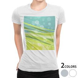 tシャツ レディース 半袖 白地 デザイン S M L XL Tシャツ ティーシャツ T shirt 001834 シンプル 模様 緑 青