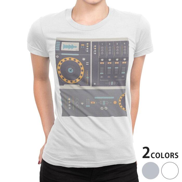 tシャツ レディース 半袖 白地 デザイン S M L XL Tシャツ ティーシャツ T shirt 012903 ラジカセ 機械 音楽