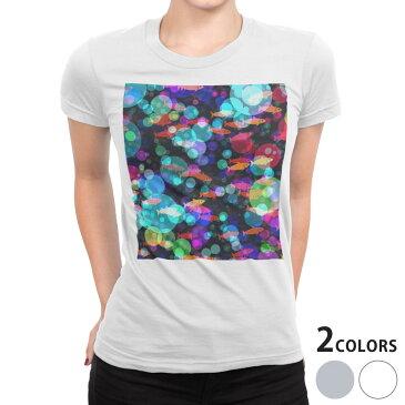 tシャツ レディース 半袖 白地 デザイン S M L XL Tシャツ ティーシャツ T shirt 015719 魚 水泡 水族館