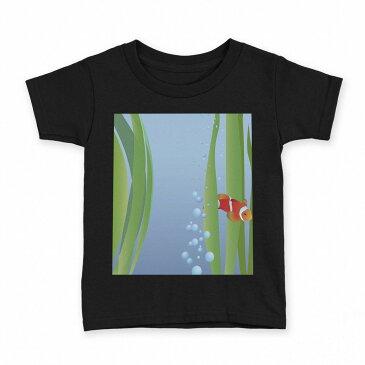 tシャツ キッズ 半袖 黒地 ブラック デザイン 90 100 110 120 130 140 150 Tシャツ ティーシャツ T shirt 001421 魚 海 海藻