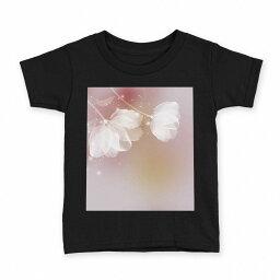 tシャツ キッズ 半袖 黒地 ブラック デザイン 90 100 110 120 130 140 150 Tシャツ ティーシャツ T shirt 001974 花 フラワー 紫