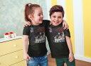 tシャツ キッズ 半袖 黒地 ブラック デザイン 90 100 110 120 130 140 150 Tシャツ ティーシャツ T shirt 003202 人物 絵画 イラスト 2