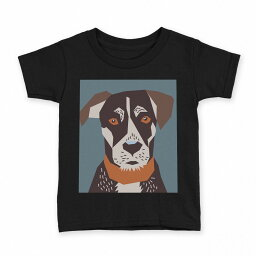 tシャツ キッズ 半袖 黒地 ブラック デザイン 90 100 110 120 130 140 150 Tシャツ ティーシャツ T shirt 010997 犬 動物 緑