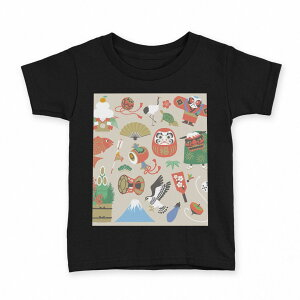 टी-शर्ट किड्स शॉर्ट स्लीव्स ब्लैक बैकग्राउंड ब्लैक डिज़ाइन 90 100 110 120 130 140 150 टी-शर्ट टी-शर्ट टी-शर्ट 013625 नए साल कदोमत्सु सगा नया साल