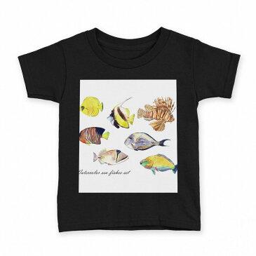 tシャツ キッズ 半袖 黒地 ブラック デザイン 90 100 110 120 130 140 150 Tシャツ ティーシャツ T shirt 014827 魚 イラスト