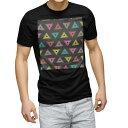 tシャツ メンズ 半袖 ブラック デザイン XS S M L XL 2XL Tシャツ ティーシャツ T shirt 黒 010868 三角 カラフル グレー