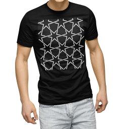 tシャツ メンズ 半袖 ブラック デザイン XS S M L XL 2XL Tシャツ ティーシャツ T shirt 黒 012470 モノトーン 星 白黒