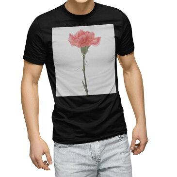tシャツ メンズ 半袖 ブラック デザイン XS S M L XL 2XL Tシャツ ティーシャツ T shirt 黒 012935 母の日 カーネーション 花